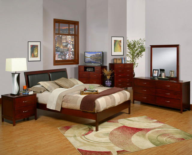 Newport 6 PC Cal King Platform Bedroom Set With Faux Leather Headboard Mode
