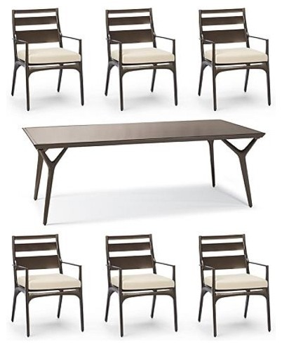 Anders 7-pc. Dining Set (with Tribeca Table) - Frontgate, Patio Furniture traditional-dining-tables