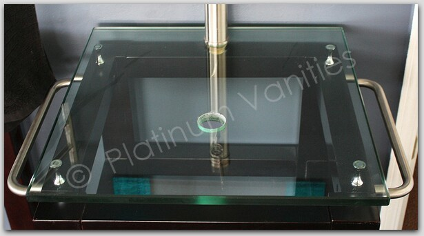 22 Quot Clear Glass Bathroom Vanity Countertop Top With Center