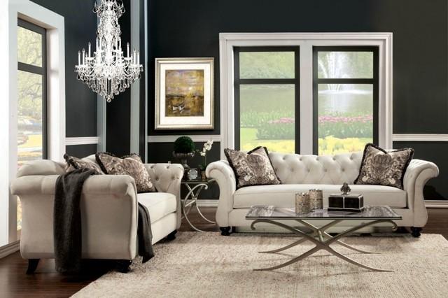 Purple Velvet Fabric Upholstered Sofa Set With Jeweled