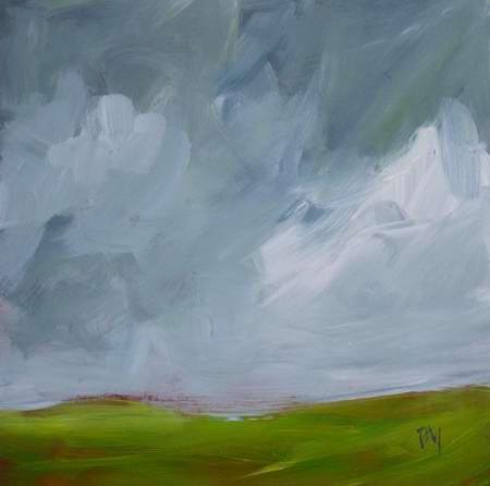 Small Original Landscape Painting Storm Clouds By Pamela M contemporary-artwork