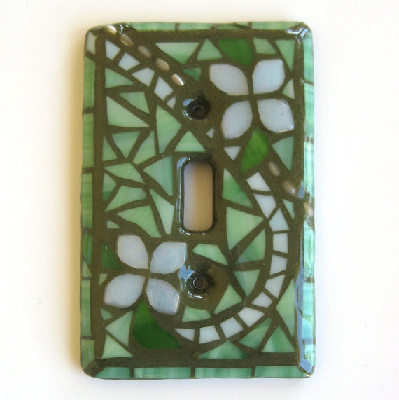 Summer Garden GLOW Single Mosaic Light Switch Cover by Mosaic Smith eclectic switchplates
