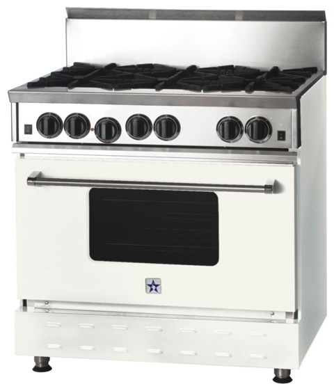 "36"" BlueStar Range in Signal White (RAL 9003) modern-gas-ranges-and-electric-ranges"