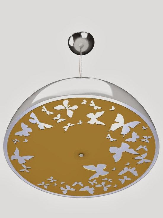 Atitlan Ceiling Lamp White Cap Gold Plate -