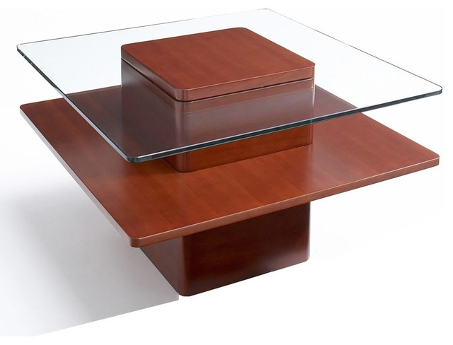 Square Glass Wood Coffee Table Cherr Modern Coffee Tables By