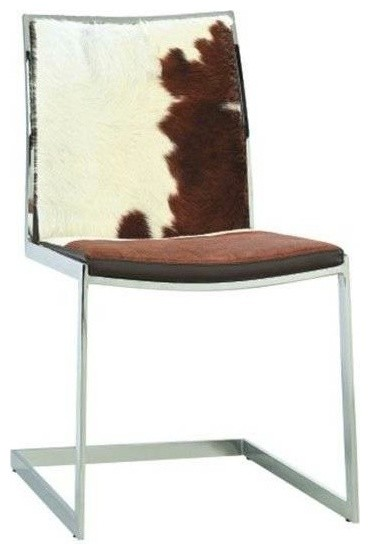 Cowhide Lunar Chair White Brown Cowhide Modern Dining
