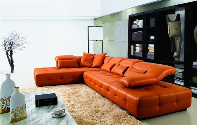 Contemporary sectional sofas for Contemporary orange sectional sofa