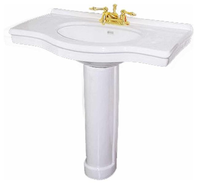 "Pedestal Sinks White China Edwin White Pedestal Sink 4"""" Centerset | 17692 transitional-bathroom-sinks"
