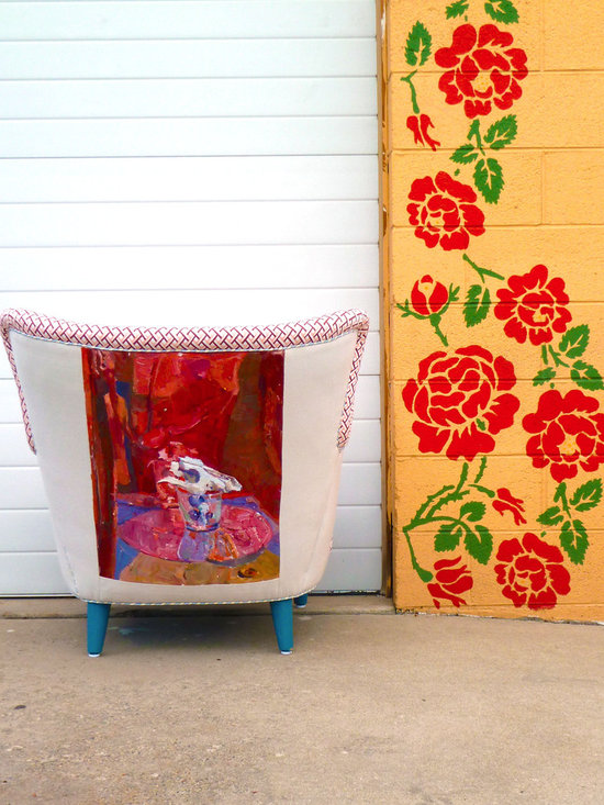 1950's Retro Vintage Painted Abstract Art Chair -