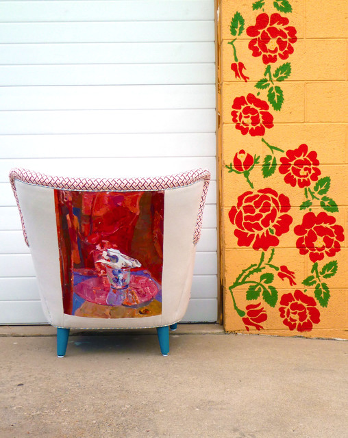 1950s Retro Vintage Painted Abstract Art Chair  chairs
