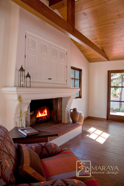 Ojai spanish fireplace mediterranean living room for Mediterranean fireplace designs