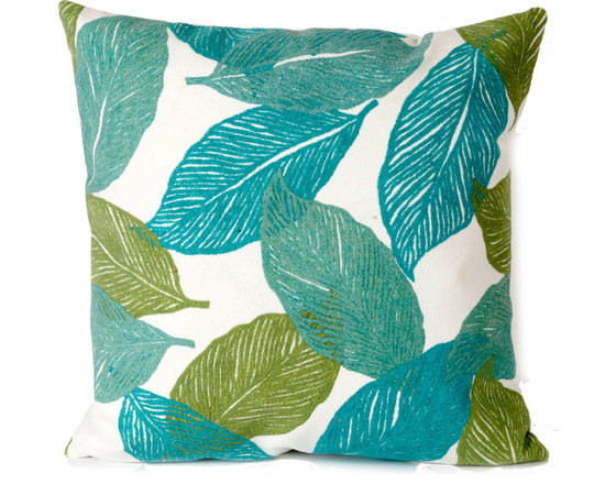 """Trans-Ocean Outdoor Pillows - Trans-Ocean Liora Manne Mystic Leaf Aqua - 20"""" x 20"""" - Designer Liora Manne's newest line of toss pillows are made using a unique, patented Lamontage process combining handmade artistry with high tech processing. The 100% polyester microfibers are intricately structured by hand and then mechanically interlocked by needle-punching to create non-woven textiles that resemble felt. The 100% polyester microfiber results in an extra-soft hand with unsurpassed durability."""