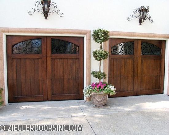 Decorative Mediterranean Garage Door with Iron Window Scrolling -