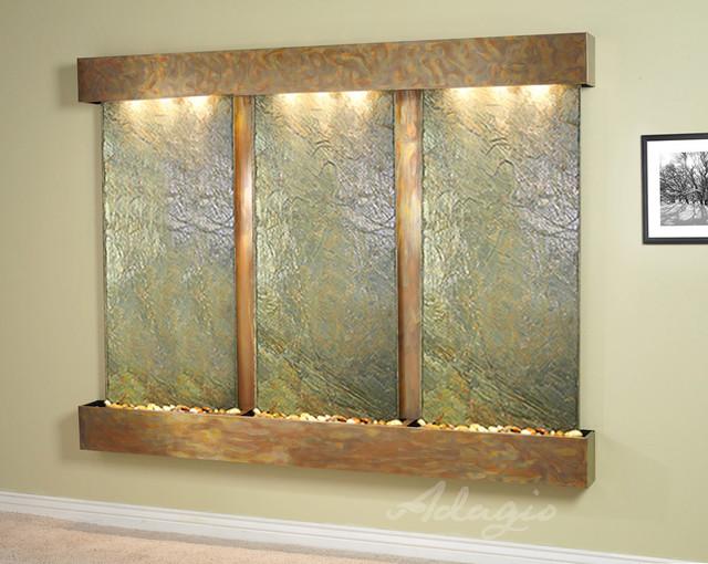 Slate Wall Mounted Water Features The Deep Creek Falls With Green Slate Contemporary