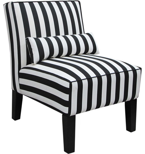 Skyline furniture canopy stripe armless upholstered chair black and white traditional