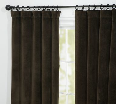 velvet double width drape 100 x 84 espresso traditional curtains by pottery barn. Black Bedroom Furniture Sets. Home Design Ideas