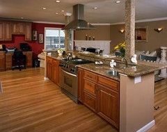 Designing a small kitchen around a support post - Kitchen island with post ...