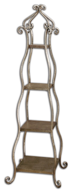 Lilah Silver Leaf Etagere traditional-bookcases