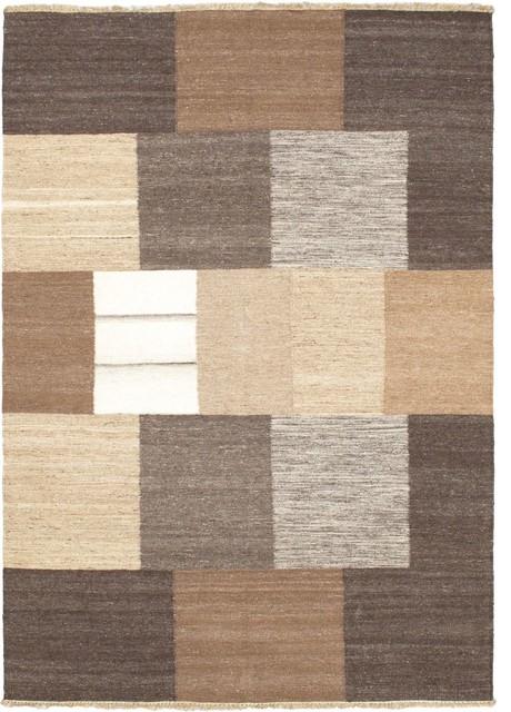 "Flat-weave Lahor Finest Light Brown Wool Kilim 4'8"" x 6'7"" modern-rugs"