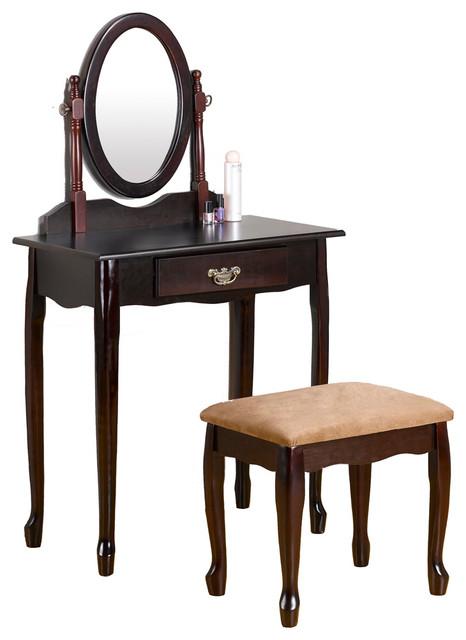Queen Anne Style Vanity Set Cherry Wood Swivel Mirror Make Up Dresser W Draw