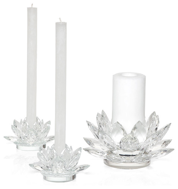 Crystal Lotus Candleholders contemporary-candleholders