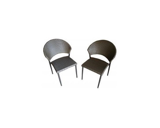 Patio Bistro Chair (Set of 2) - Patio Bistro Chair in Powder Coated Aluminum with Steel Reinforced Legs. Set of 2