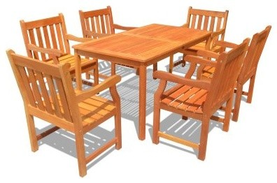 Balthazar Rectangular Table And Armchair Outdoor Dining Set - Seats 6 modern-dining-tables
