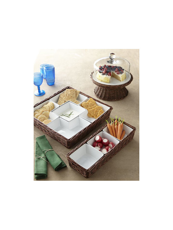 Horchow - WIllow Three-Section Server - Warmer weather brings casual gatherings and relaxed entertaining, and these slightly rustic serving pieces are tailor made for those occasions. Made of wicker, earthenware, and glass. Earthenware pieces are dishwasher safe. Hand wash glass and wicker....