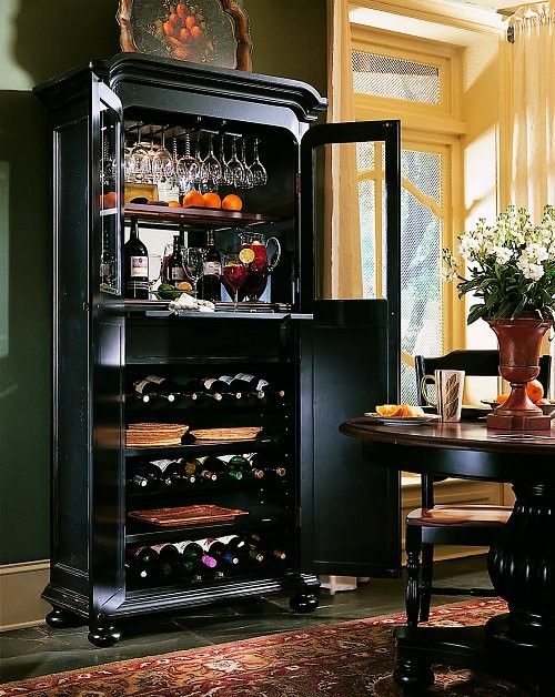 Indigo Creek Wine Cabinet, Black Finish With Rub-Through - Contemporary - Wine And Bar Cabinets ...