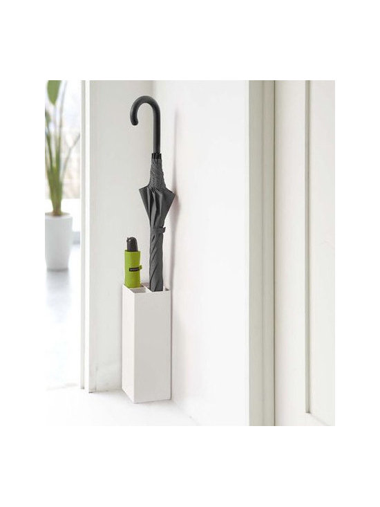 'Smart' White Metal Umbrella Stand - This is the perfect umbrella stand for the modern home or for those short on space. It serves its purpose while remaining quietly hidden.