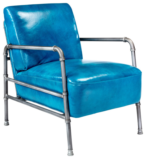 Royce Club Chair Blue Contemporary Indoor Chaise