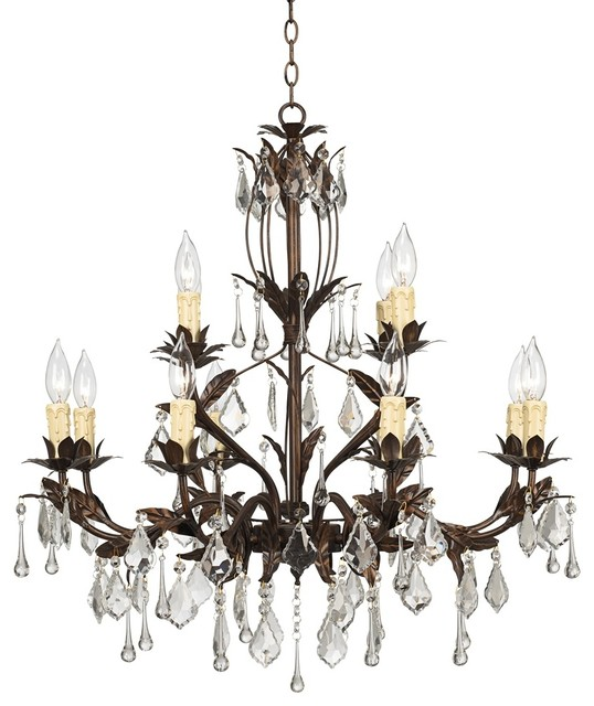 "Crystal Kathy Ireland Venezia 12 Light 28"" Wide Bronze"