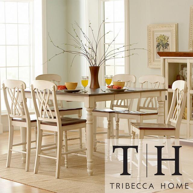 TRIBECCA HOME Mackenzie 7 Piece Country White Dining Set Contemporary Din