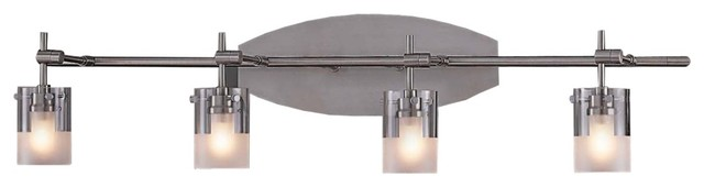 Adjustable Vanity Light Fixtures : Brushed Nickel Adjustable Four Light Bathroom Fixture - Contemporary - Bathroom Lighting And ...