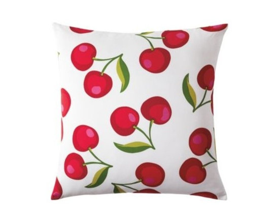 Serena & Lily - Cherry Euro Sham - A retro vibe, but very now our not so secret love affair with playful prints continues. Scaled way up, these cheeky cherries (in juicy shades of red, with a dash of pink and two toned green) have all the artful details of a watercolor.