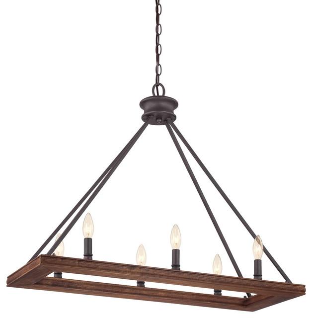 Quoizel ptn232dk plantation 6 light island lights in for Houzz rustic lighting