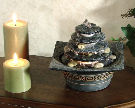 Natural Pagoda Illuminated Tabletop Fountain - Great little Asian piece, for that oriental room.  Also works great for Feng Shui.