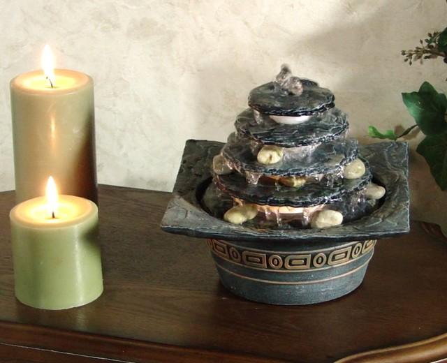 Natural pagoda illuminated tabletop fountain asian - Japanese indoor water fountain ...