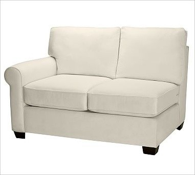 Buchanan Upholstered Left Arm Love Seat, Washed Grainsack Toffee traditional-living-room-chairs