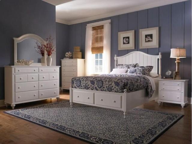 Broyhill Hayden Place 5 Piece Panel Bedroom Set In White 4649 26 Set Traditional Bedroom