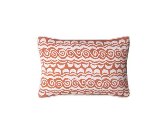 "John Robshaw - John Robshaw ""Fiddler"" Outdoor Pillow - An eclectic collection of fun patterns in bright colors makes this pillow collection perfect for adding splashes of color to both indoor and outdoor settings. Pillows are listed as shown front to back. Made of polyester with polyester inserts. Piped e..."