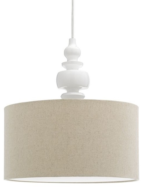 Turning Pendant, White/Natural contemporary pendant lighting