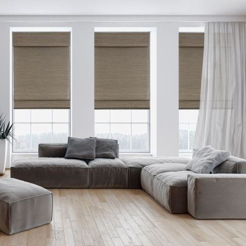 25 Modern Roman Shades For Beautiful Room Decorating: Designer Woven Wood Shades From Blinds.com