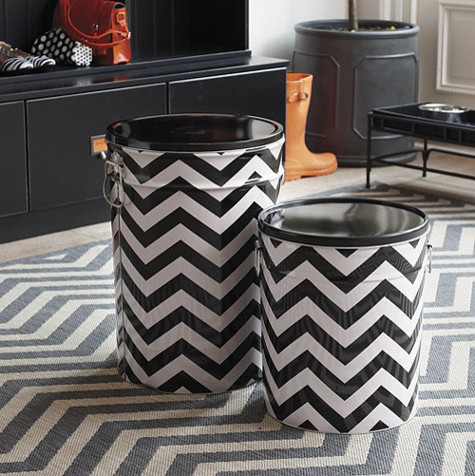 Chevron Stripe Pet Food Canister contemporary-pet-supplies
