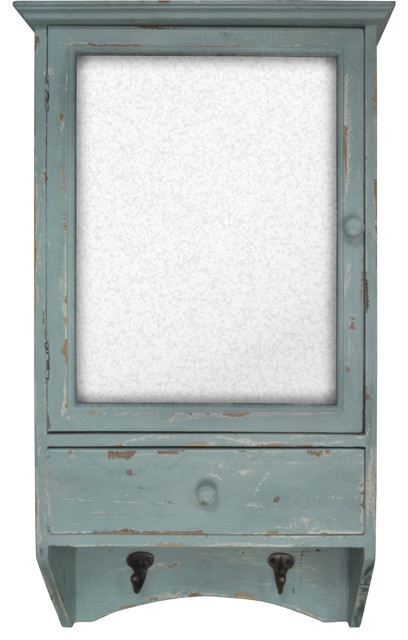 Distressed Wooden Mirrored Wall Cabinet with Drawer and Hooks (Blue) - Farmhouse - Medicine ...
