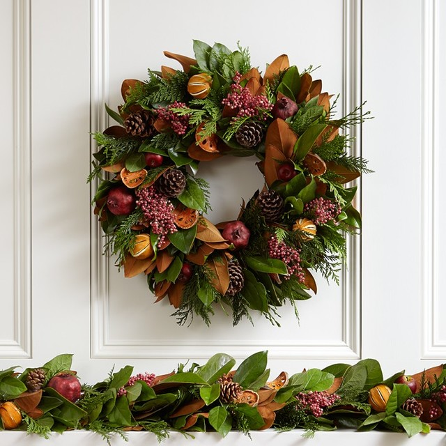 Holiday Fruit Wreath traditional-wreaths-and-garlands