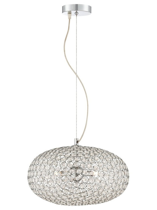 "Possini Euro Design - Possini Euro Celestia Chrome 16"" Wide Round Crystal Pendant - The Celestia round crystal pendant light has a brilliant sheen when illuminated. The handsome design features shimmering chrome finish and stunning clear crystal that captures and reflects light from within. Includes ten feet of cord for a versatile fixture that allows you to adjust the hanging height. From Possini Euro Design. Chrome finish pendant light. Clear glass crystals. 16"" wide. 8"" high. Includes three 40 watt G9 bulbs. Includes 12 feet of wire and 12 feet of cable. Hang weight is 6 1/2 lbs. Canopy is 4 3/4"" wide.  Chrome finish pendant light.   Clear glass crystals.   16"" wide.   8"" high.   Includes three 40 watt G9 bulbs.   Includes 12 feet of wire and 12 feet of cable.   Hang weight is 6 1/2 lbs.   Canopy is 4 3/4"" wide."