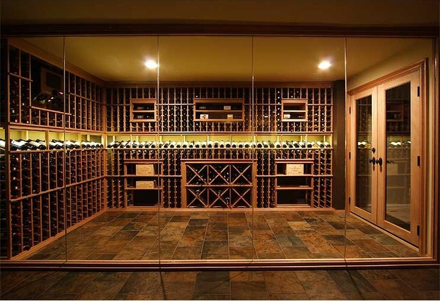 Custom Glass Enclosed Wine Cellar Traditional Wine