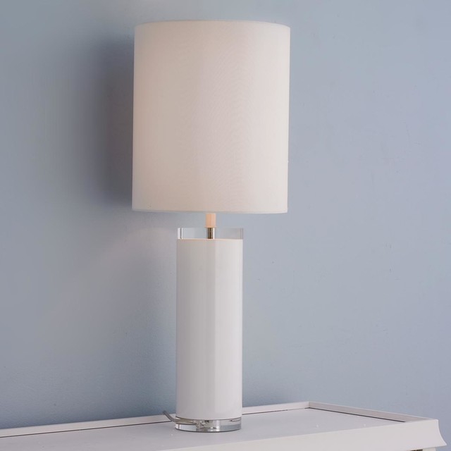Tall Modern Cylinder Table Lamp 2 Finishes Lamp Shades