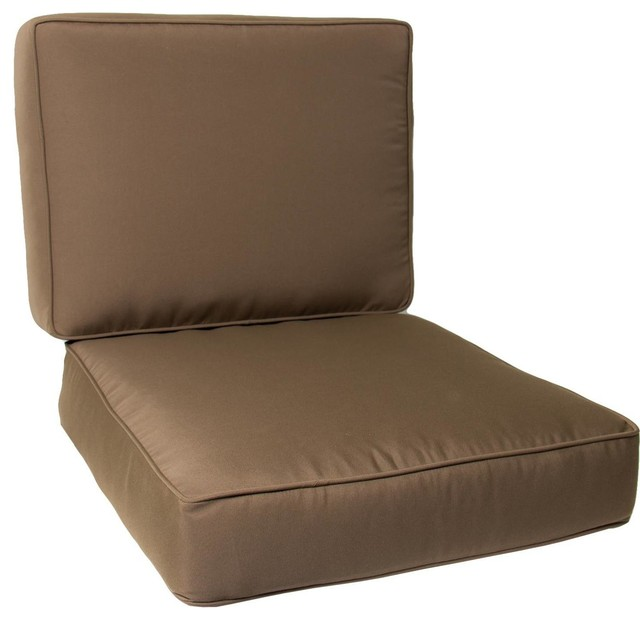 Medium Replacement Club Chair Cushion Set With Piping Canvas Cocoa Modern Seat Cushions